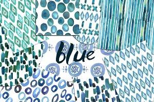 Watercolor blue patterns