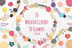 Wreath Clipart Set - Flowers Florals