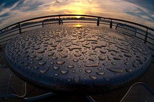 Water drip on sunset