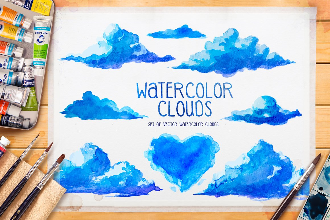 watercolor clouds pre designed illustrator graphics creative market watercolor clouds
