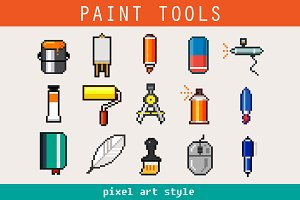 Paint Tools Pixel Art Icons