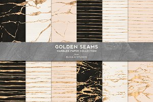 Golden Seams Marbled & Striped Paper