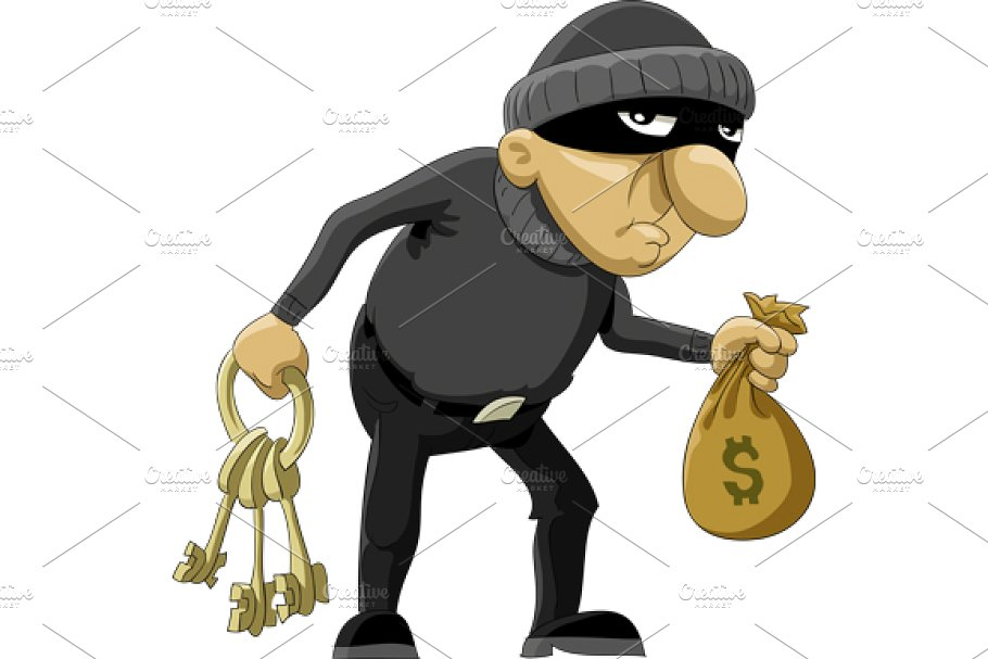 Image result for masked robber with keys cartoon