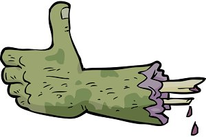 Cartoon doodle zombie hand thumbs up
