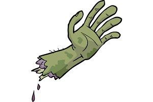 Cartoon doodle zombie hand