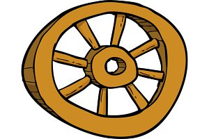 Cartoon wooden wheel doodle