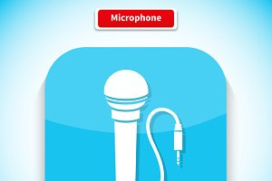 Microphone App Icon Flat