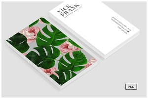 Monstera Rose Pattern Business Card