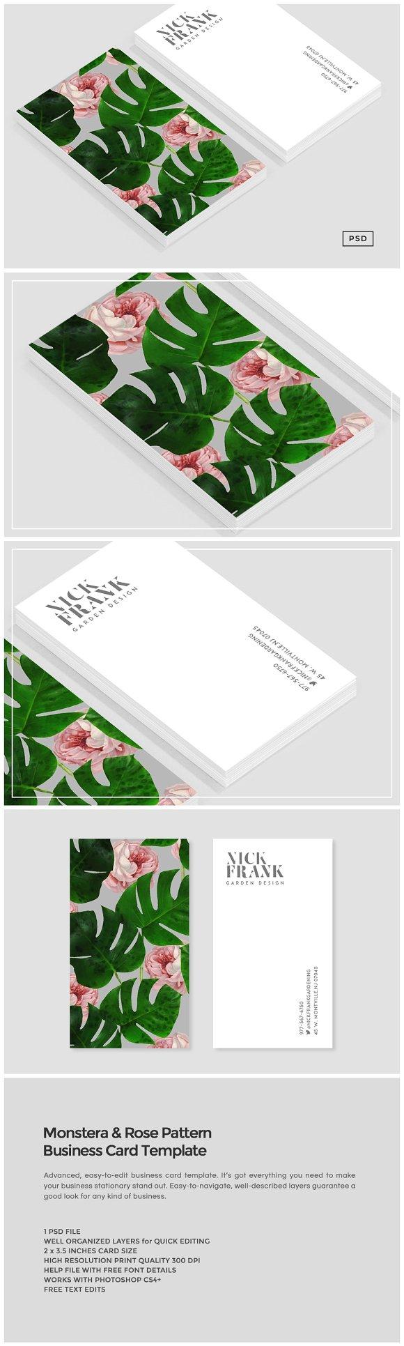monstera rose pattern business card business card. Black Bedroom Furniture Sets. Home Design Ideas