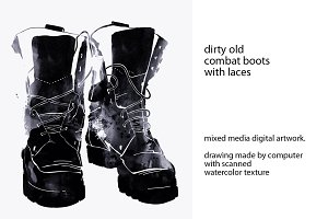 dirty old combat boots