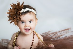 Baby ballerina in brown tutu