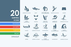 20 Surfing icons
