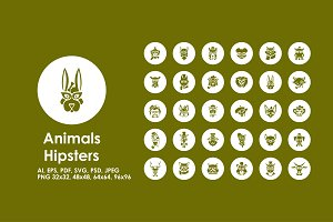 Animals Hipsters simple icons