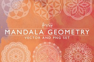 Mandala Geometry Vector & PNG set