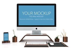 iMac and iPhone mockup in white