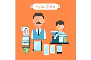 Mobile Store Concept Flat Design