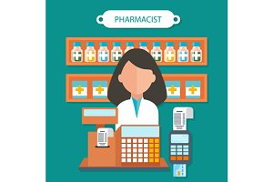 cPharmacist Concept Flat Design