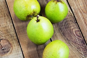 Fresh organic pears on old wood