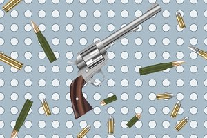 Guns and bullets seamless pattern