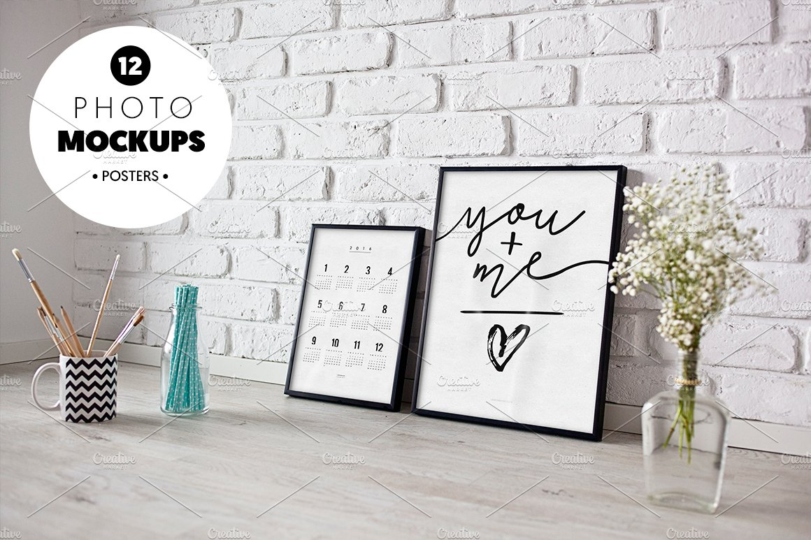 6 poster design photo mockups 57079 - 1 12 Photo Mockups Product Mockups Creative Market