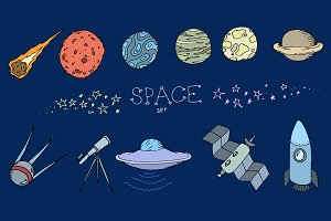 Colored doodle space set