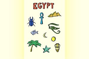 Colored Egypt icons set
