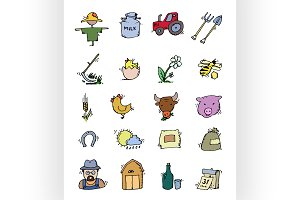 Colored Hand drawn Farm icon set