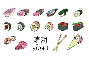 Colored sushi set