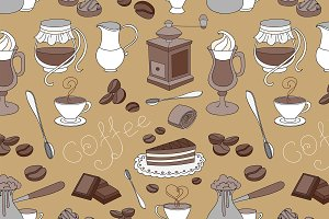 Doodle pattern coffee