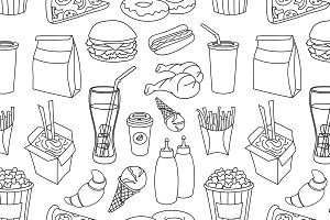 Doodle pattern fast food