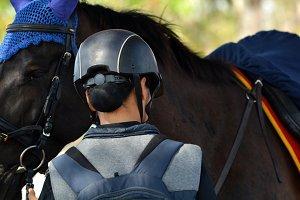 Lady Jockey with Horse