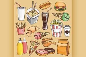 Doodle vector fast food
