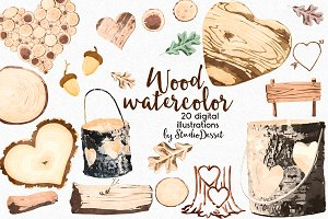 Watercolor Wood Graphics