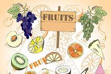 Fruit Set.Hand Drawn Sketches