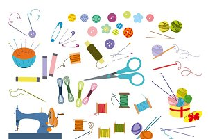 Sewing clip art vector set