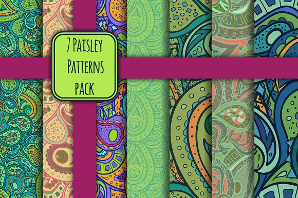 7 Paisley Patterns Pack