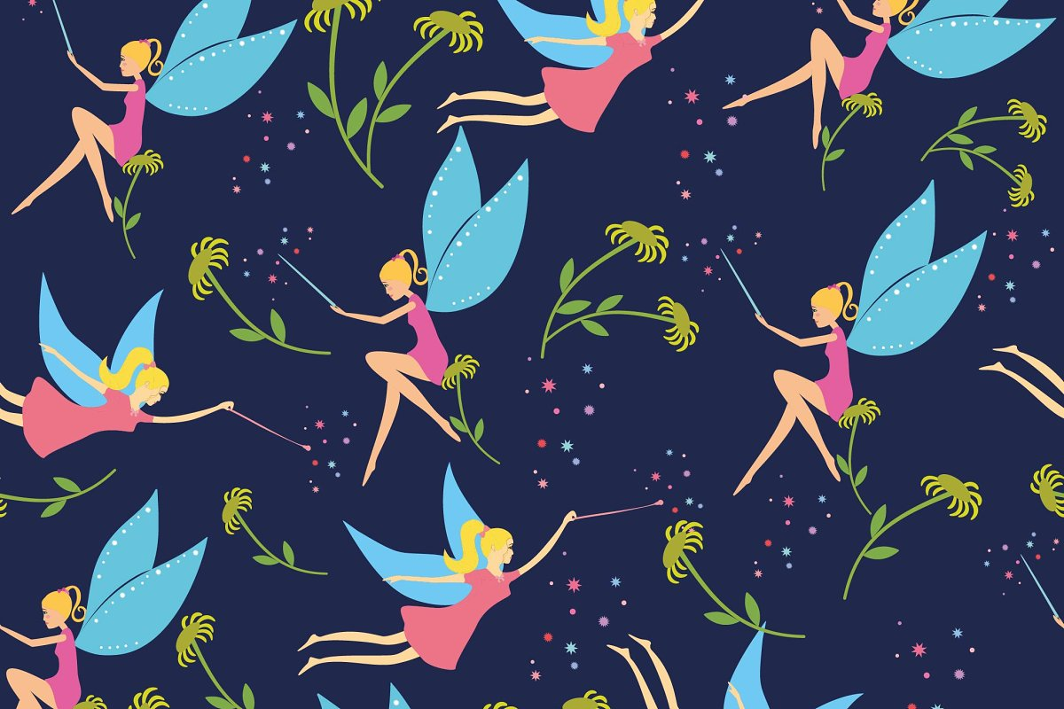 Seamless pattern with fairy for girl