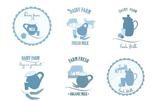 Milk farm label, logo, icons set