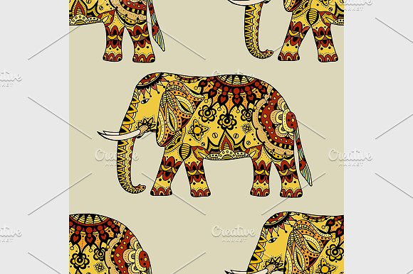 Hand Drawn Ethnic Elephant in Patterns