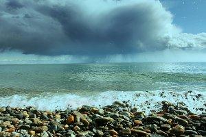 Rainy clouds. Baikal lake, Russia