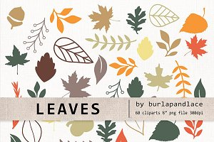 Leaves Digital Clipart Elements