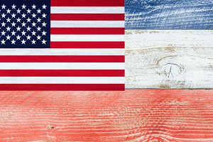 USA Flag and Planks