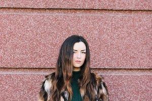 Beautiful Woman in Luxury Fur Jacket