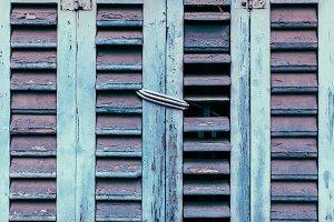 Blue wood windows