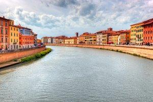 Arno river in Pisa.