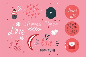Valentines Day hand drawn elements