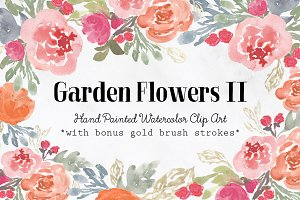 Garden Flowers II Watercolor Clipart