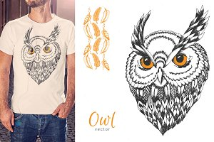 Hand drawn owl
