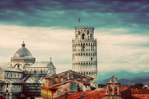 Rooftop view of Pisa architecture.