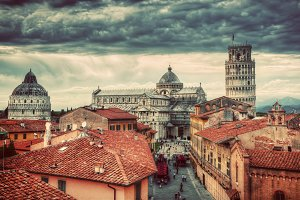 Landmark of Pisa in vintage.